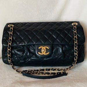 CHANEL Calfskin 2011 Accordion Distressed Flap Bag